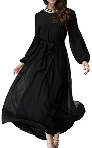 ARTFFEL-Women Basic Solid Saudi Arabia Long Sleeve Chiffon Islamic Muslim Abaya Dress Black M