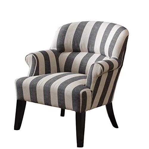 Great Deal Furniture Drew | Striped Fabric Club Chair | in Beige and Slate Grey Stripe
