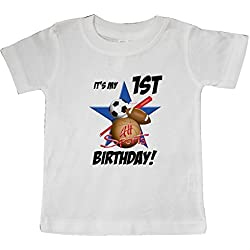inktastic - 1st Birthday All Stars Baby T-Shirt 12 Months White 5b8d