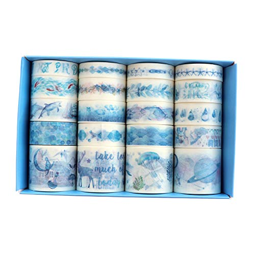 Blue Washi Tape (Cool Blue Ocean Washi Tape, 20 Rolls Fish Dolphin Jellyfish Kawaii Cake Summer Seaside Washi Masking Tape Set for Scrapbooking, Bullet Journal, Planner, Gift Wrapping, Holiday)