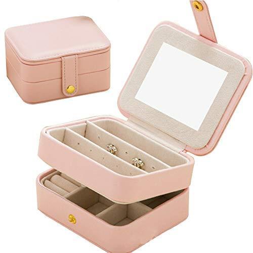 Naswei Jewelry Organizer Box Travel Portable Jewelry Storage Case Accessories Holder Pouch Bulit-in Mirror with Environmental Faux Leather for Earring,Lipstick,Necklace,Bracelet,Rings Pink