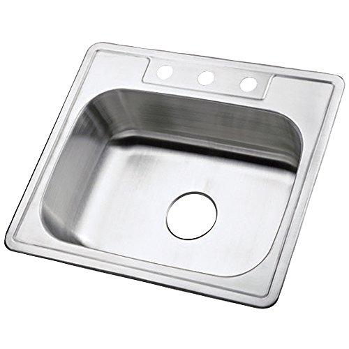 (Kingston Brass K25228BN 22 Gauge Single Bowl Stainless Steel Self-Rimming Kitchen Sink, Brushed Nickel)