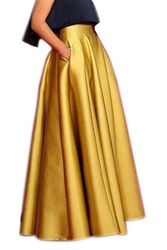 Honey Qiao Women's Satin Long Floor Length High Waist Fomal Prom Party Skirts with Pockets,Back Zipper Closure ()