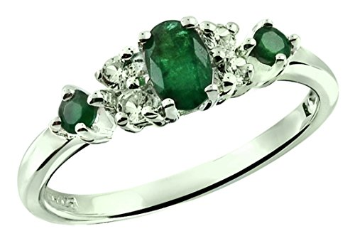 Emerald Sterling Plated - Sterling Silver 925 Ring NATURAL EMERALD and WHITE TOPAZ 0.54 Carat with RHODIUM-PLATED Finish (12)