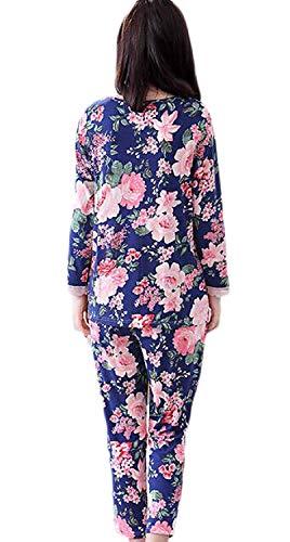 El Primavera Elegante Noche Flores Para Fashion Otoño cuello Mujer Larga Ropa Chic Batas Patrón Splice Encaje Manga Pantalones Pijama Hogar Azul V Satín De Conjunto qFAfI5w
