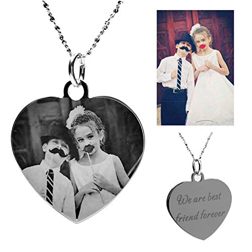 Civbalen Necklace Custom Photo Necklace Heart Personalized Message Pendant Christmas Birthday Gift
