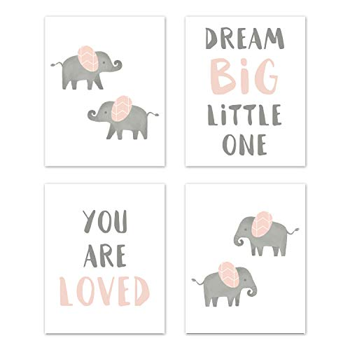 Print Dreams Sweet (Sweet Jojo Designs Blush Pink and Grey Wall Art Prints Room Decor for Baby, Nursery, and Kids for Watercolor Elephant Safari Collection - Set of 4 - Dream Big You are Loved)