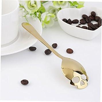 unakim -- Nuevo café en forma de calavera azúcar agitación cuchara de acero inoxidable de