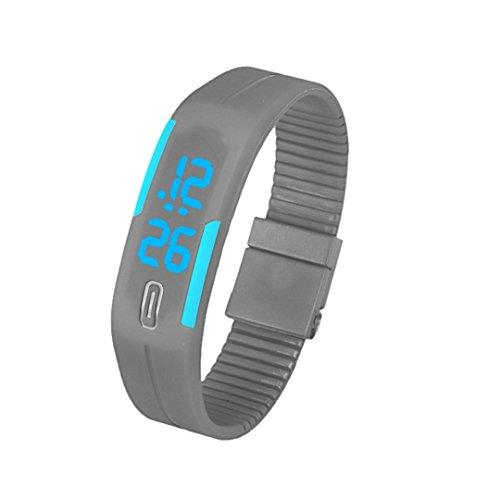 Jelly Sport Digital 5 (DDLBiz Mens Womens Rubber Blue LED Watch Date Sports Bracelet Digital Wrist Watch (Gray))