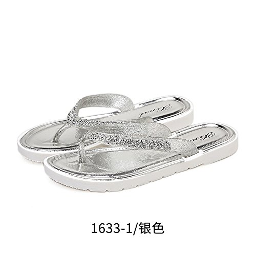 Non a Modern Outside fankou 40 Beach The with Field Silver Feet Slippers Slippers Summer People Slip Beach and Flat Women's Clip Students Shoes Base Resort PaqdEq
