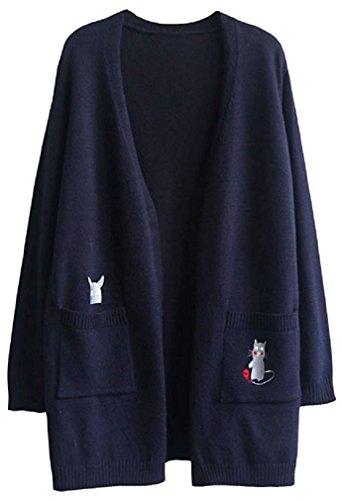 [Nana_Collection(ナナコレクション)] 秋 春 セーター 羽織 猫 ねずみ こま ポケット 女性 長袖
