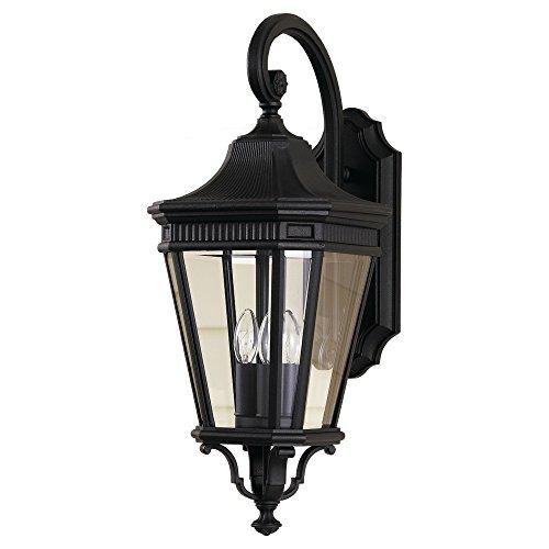 Feiss OL5402BK 3-Bulb Outdoor Wall Lantern, Black Finish