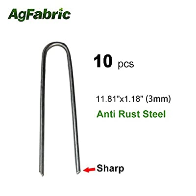 """Agfabric 10PACK 11.81"""" 9Guage Garden Landscape Staples Stakes Pins,Weed Barrier Fabric Ground Cover Soaker Hose Lawn Drippers Irrigation Tubing Wireless Invisible Dog Fence"""
