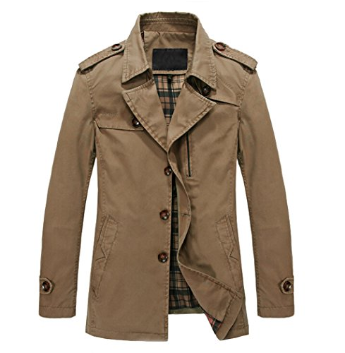 WenVen Men's Fall Casual Cotton Jackets Slim Fit(Yellowish Brown 1,M)