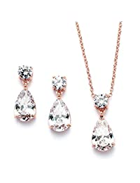 Mariell 14KT Rose Gold Necklace Earrings Set with Pear-Shaped CZ Teardrop - Bridal, Bridesmaids & Holiday