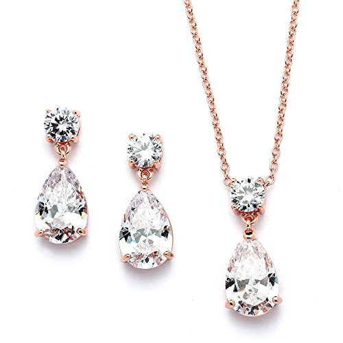 Mariell 14K Rose Gold Plated CZ Teardrop Bridal Necklace and Earring Set (Pink Gold Jewelry)