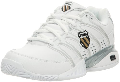 K-Swiss Women's Approach II Tennis Shoe,White/Black/Silver/Gold,11 M