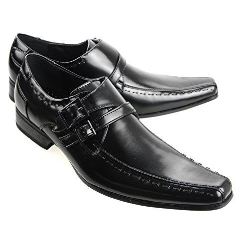 Price comparison product image MM / ONE Men's Dress Shoes Slip-on Stitching Double Side Belt Fashion,  Black,  41 EU (US Men's 8.5 M)