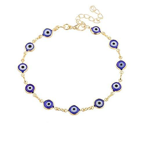 MANZHEN Turkey Blue Evil Eye Bracelet Glass Beads Clasp Bracelet for Women - Bracelet Glass Evil Eye