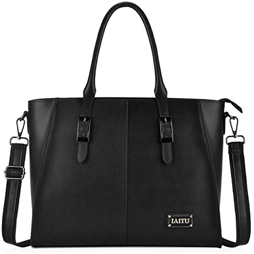 IAITU Laptop Tote Bag, 15.6 inch Professional Laptop Case Satchel Bag Women Computer Bag for Office Business (Black)