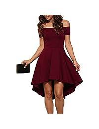 Women Short Off Shoulder Sleeve Dress Sexy High Low Skater Cocktail Clubwear