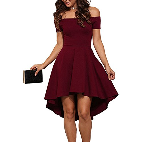 Women Short Off Shoulder Sleeve Dress Sexy High Low Skater Cocktail Clubwear