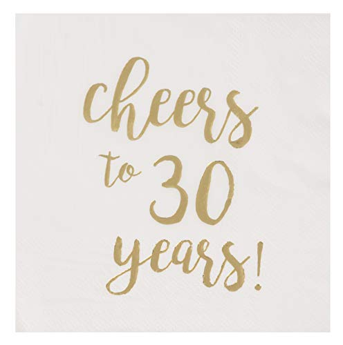 30th Birthday Beverage Napkins - Cocktail Napkins - 50-Pack Cheers to 30 Years in Gold Foil Disposable Paper Napkins, 3-Ply, 30th Birthday Decorations, Wedding Anniversary Party Supplies, White, Folded 5 x 5 Inches