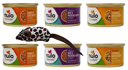 Nulo Freestyle Gourmet Cat Kitten Food 3 Flavor Variety 6 Can with Catnip Mouse Bundle, 2 Each: Minced Turkey Duck, Minced Beef Mackerel, Shredded Chicken Duck (3 Ounces)