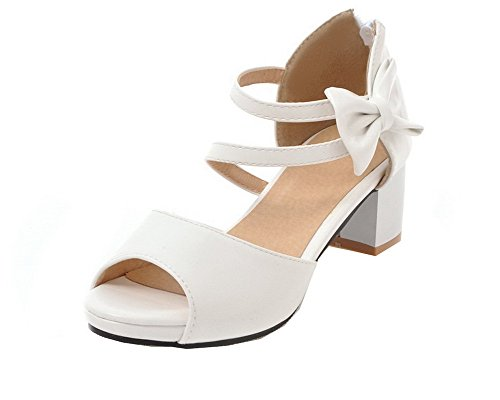 Solid Open Zipper Sandals White WeiPoot Kitten Toe Heels Pu Women's EGHLH006565 qU5Xx5w7