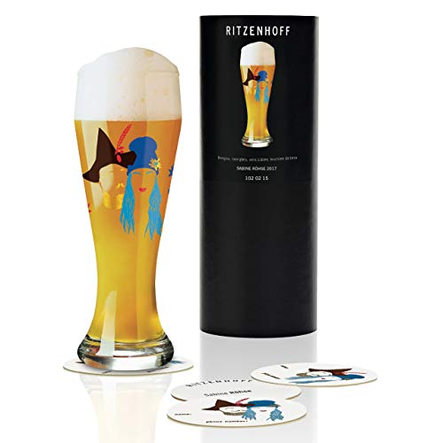 Ritzenhoff Weizen Wheat Beer Glass by Sabine Röhse Crystal Mirror-Glass Photo Frame - with Five Coasters