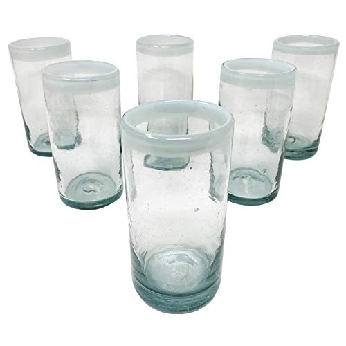 LA MEXICANA Mexican Hand Blown Drinking Glasses Cobalt Clear White Rim Recycled Glass, 16 oz. (set of 6), White Style