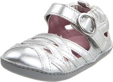 Robeez Mini Shoez Strappy & Sassy Sandal Pre-Walker (Infant/Toddler),Silver,3-6 Months (2 M US Infant)