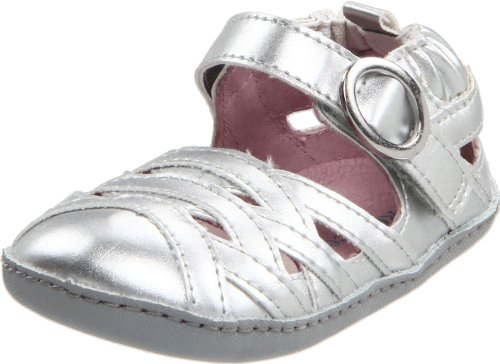 Mini Strappy Sandals (Robeez Mini Shoez Strappy & Sassy Sandal Pre-Walker (Infant/Toddler),Silver,3-6 Months (2 M US Infant))