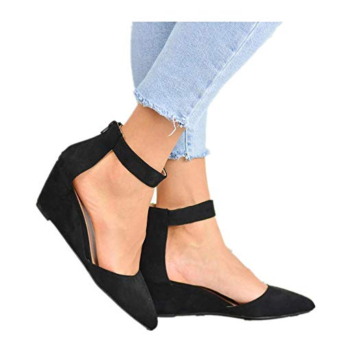 Women's Casual Pointed Toe Low Wedge Flat Shoes Ankle High Walking Platform Pumps Sandals Black