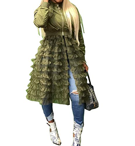 LROSEY Women Long Slevee Zipper Lightweight Ruffles Sheer Mesh Dress Bomber Windbreaker Jackets Coat S-3XL Green