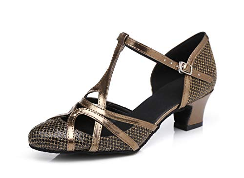 TDA Womens T-strap Glitter Synthetic Salsa Tango Ballroom Latin Party Dance Shoes CM101 5cm Brown