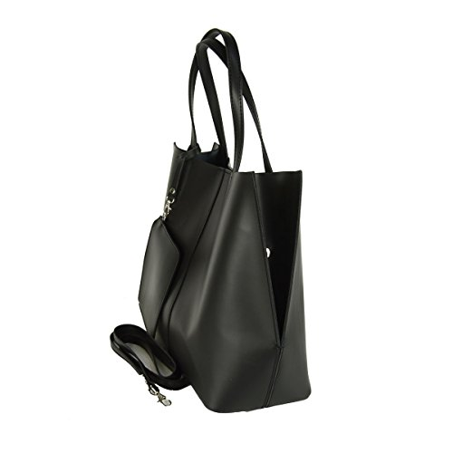 Handtasche Aus Echtem Leder Farbe Schwarz - Italienische Lederwaren - Damentasche