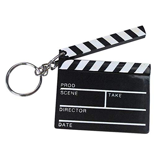 Novelty Keychain Backpack Clip Handbag pendant (Hollywood Movie Clapboard) ()