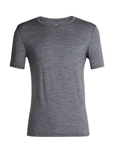 Icebreaker Merino Men's Tech Lite Short Sleeve Crew Neck Shirt, Gritstone Heather, Large (Shirt Merino Crew)