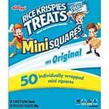 Kellogg's, Rice Krispies Treats Crispy Marshmallow Mini-Squares, Original, Single Serve, Display Box Caddy, 0.39 oz Bars(50 Count)