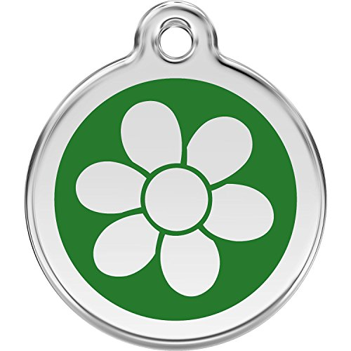 Red Dingo Personalized Flower Pet ID Dog Tag (Medium Green) - Flower Pet Tag