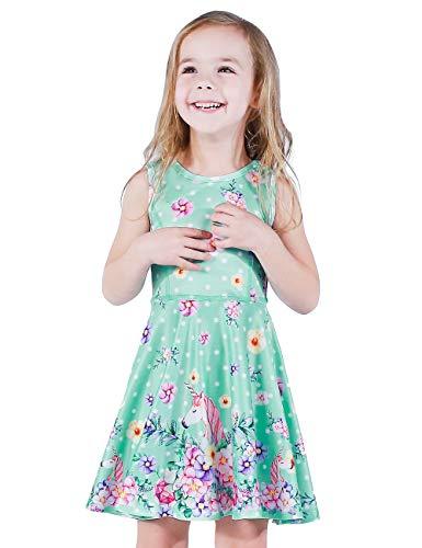 LaBeca Baby Girls Party Casual Unicorn Printed Twirly Sleeveless Dress Flower Unicorn XS