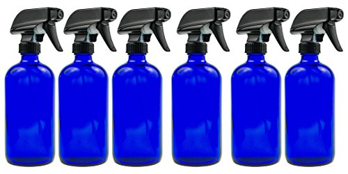 Blue Glass Spray Bottle - Large 16 oz Refillable Container for Essential Oils, Cleaning Products, or Aromatherapy - Black Trigger Sprayer w/ Mist and Stream Settings - 6 Pack