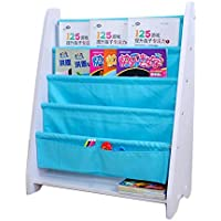 LANKUO Kids Book Rack Storage Bookshelf Toy Sling Book Rack white/blue
