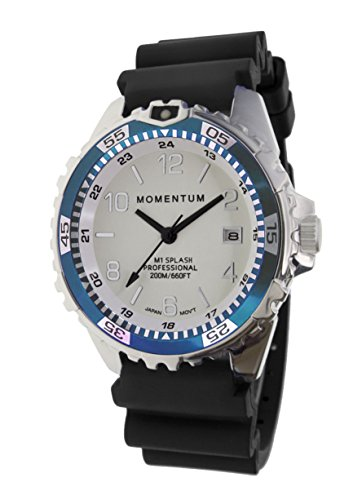 Dial Stainless Steel Buckle (Momentum Women's Stainless Steel Japanese-Quartz Diving Watch with Rubber Strap, Black, 22 (Model: 1M-DN11LT1B)