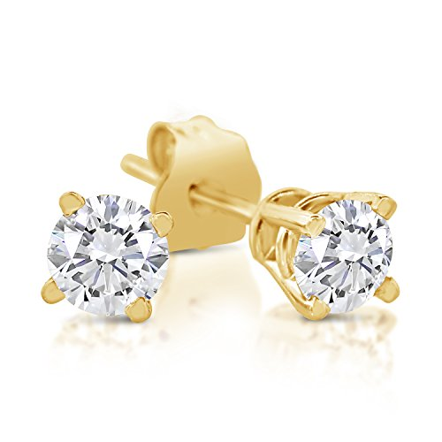 1/4ct tw Diamond Stud Earring in 14k Yellow Gold 14k Gold Diamond Earring Jackets