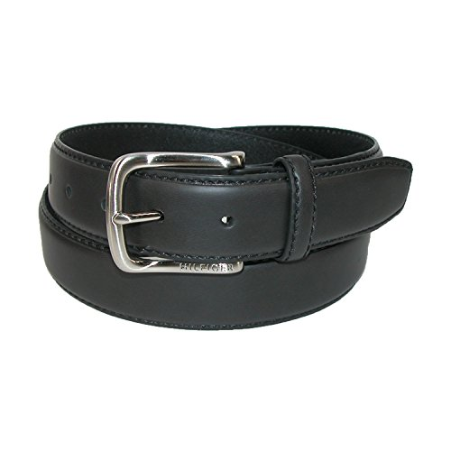 Engraved Black Leather (Tommy Hilfiger Men's Leather Stitch Belt with Engraved Logo,Black,34)