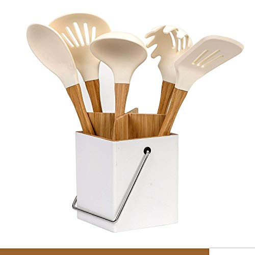 Silicone Cooking Kitchen Utensils Set, 6 Piece Bamboo Wooden Handles Cooking Tool BPA Free Non Toxic Silicone Turner Spatula Spoon Kitchen Gadgets Utensil Set for Nonstick Cookware with Utensil Holder
