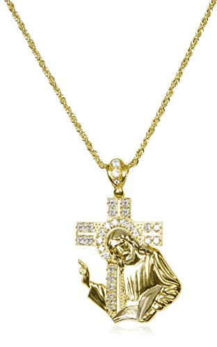14K Two-Tone Gold Large Jesus, Cross Holy Bible Pendant a 3mm 24