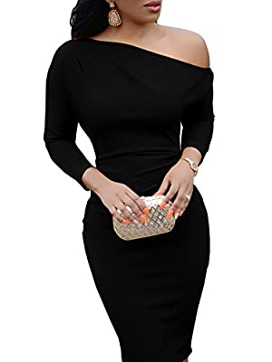 Jeanewpole1 Womens One Off Shoulder Midi Dress Long Sleeve Stretchy Sexy Bodycon Party Pencil Dress